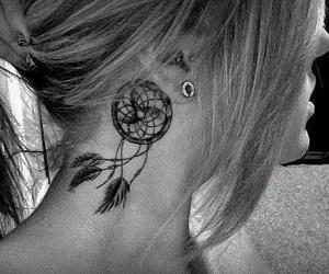 black and white, tattoo, and dreamcatcher image