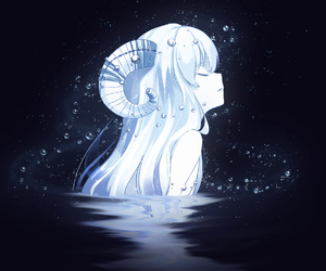 anime, horns, and water image