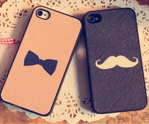case, mustache, and phone image