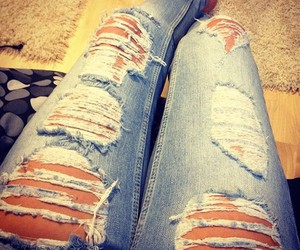 fashion, legs, and ripped jeans image