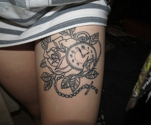 clock, ink, and rose image