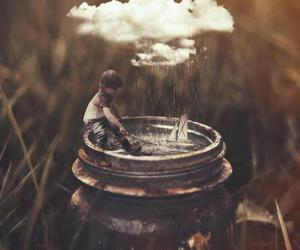 boy, rain, and clouds image