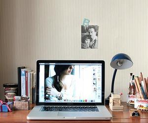 white, desk, and girl image
