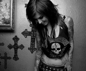 tattoo, kat von d, and black and white image