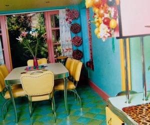 bold colors, print, and vintage kitchen image