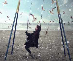 girl, birds, and swing image