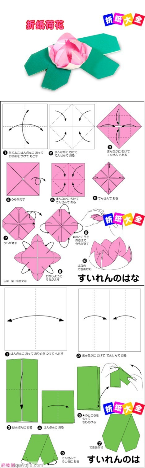 Frog on Lily Pad - Origami Instruction | 1504x468