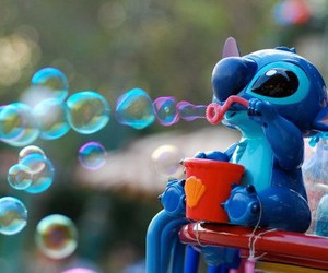 blue, bubbles, and stich image