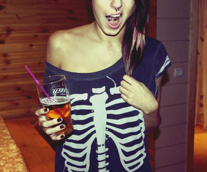 girl, piercing, and beer image