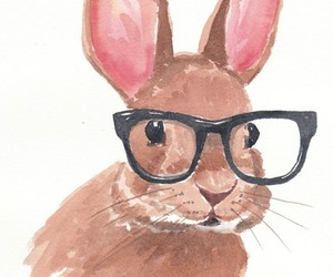 rabbit, bunny, and watercolor image