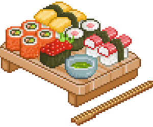 sushi, pixel, and food image