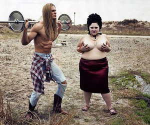 fat girl, gossip, and muscle man image