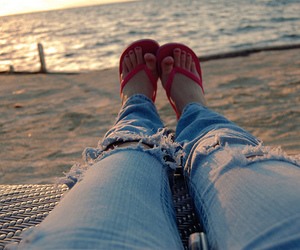 beach, jeans, and summer image