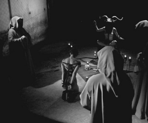 Baphomet, candles, and occult image