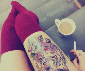 cigarette, tattoo, and coffee image