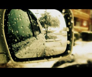 car, snow, and mirror image