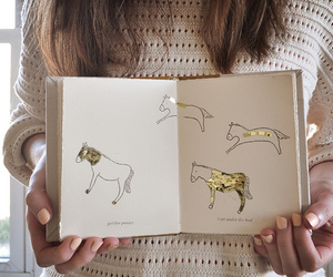 girl, book, and horse image