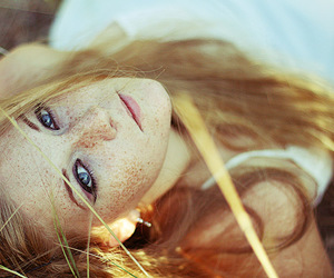 girl, freckles, and blue eyes image