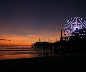 beach, big wheel, and sunset image