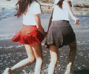 girl, friends, and skirt image