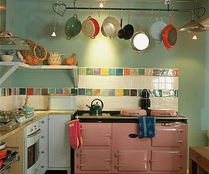 kitchen, decor, and pink image