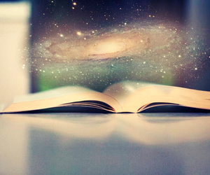 book, galaxy, and universe image