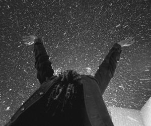 beautiful, black and white, and snow image