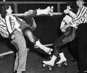 black and white and roller derby image