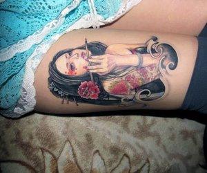 ink, inked, and geisha tattoo image