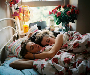 bed, cute couple, and photography image