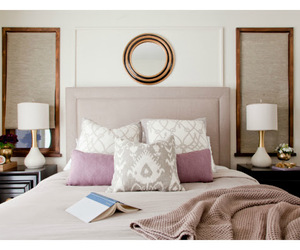 bedroom, lamps, and mauve image