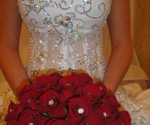 dress, wedding, and rose image