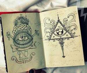 drawing, eye, and illuminati image