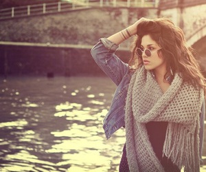 girl, scarf, and brunette image