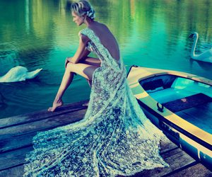 dress, Swan, and lake image
