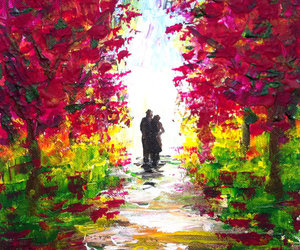 modern painting, oil on canvas, and pink trees image