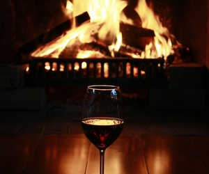 wine, fireplace, and fire image