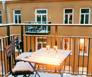 balcony, champagne, and winter image