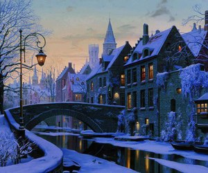 winter, snow, and belgium image