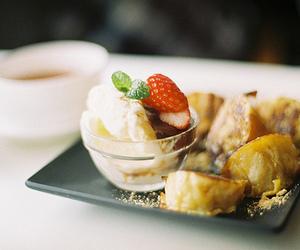food, icecream, and strawberry image