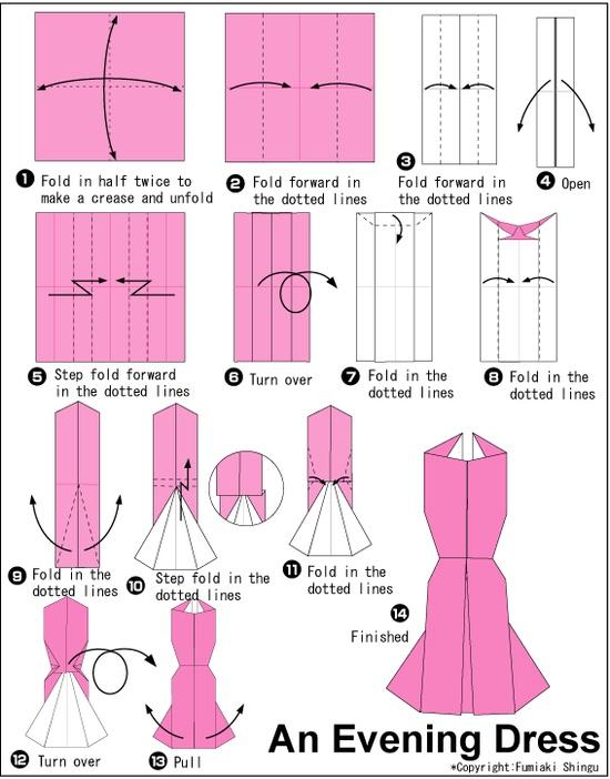 Origami Evening Dress Folding Instructions   Origami Instruction