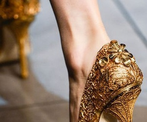 shoes, gold, and heels image