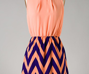 chevron, coral, and dress image