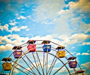 sky, ferris wheel, and blue image