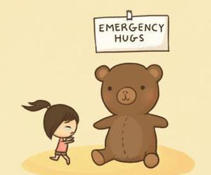 hug, emergency, and bear image