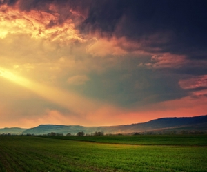 field, sky, and landscape image