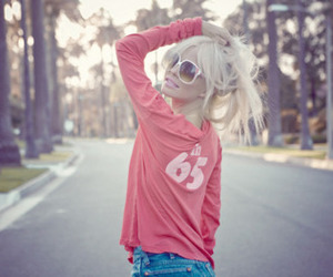 girl, blonde, and pink image