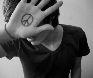 peace, boy, and black and white image
