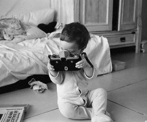 baby, black and white, and camera image