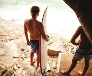 boy, beach, and surf image